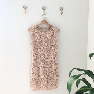 ARK & CO tan beige floral mini dress medium